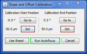 diSPIM plugin Setup Path tab; 2 point calibration pop-up
