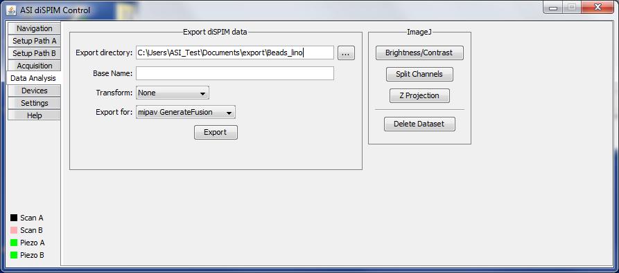 The Data Analysis panel of the diSPIM plugin.