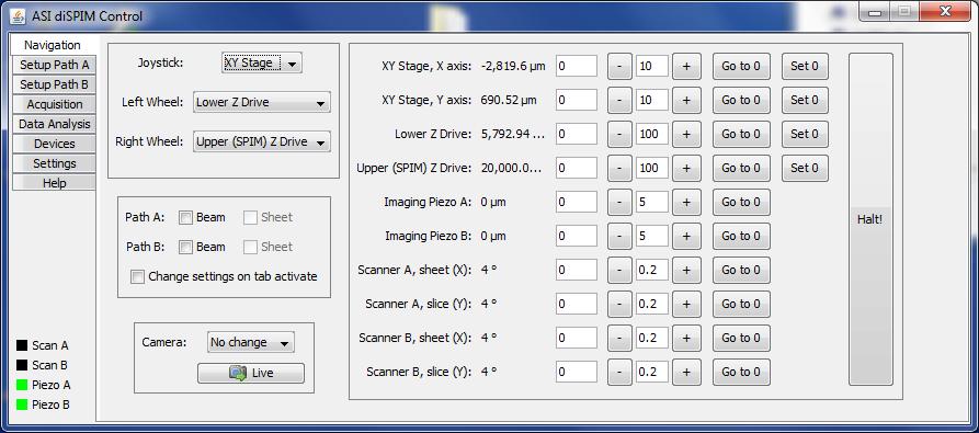 The Navigation panel of the diSPIM plugin.