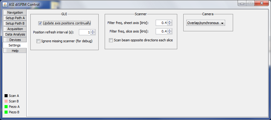 The Settings panel of the diSPIM plugin.