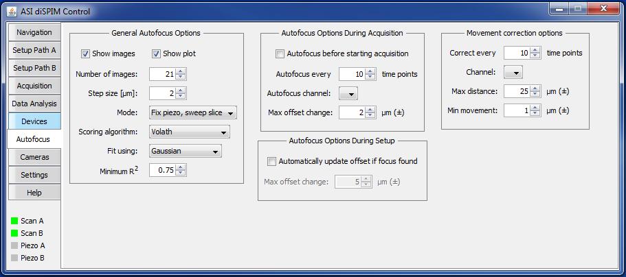 diSPIM plugin Autofocus tab