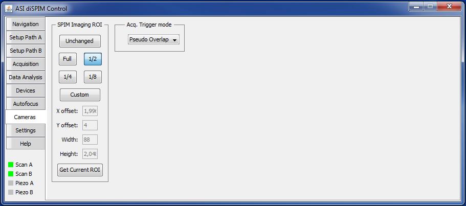 diSPIM plugin Cameras tab