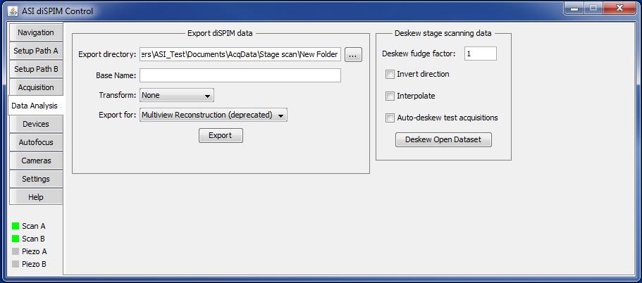 diSPIM plugin Data Analysis tab