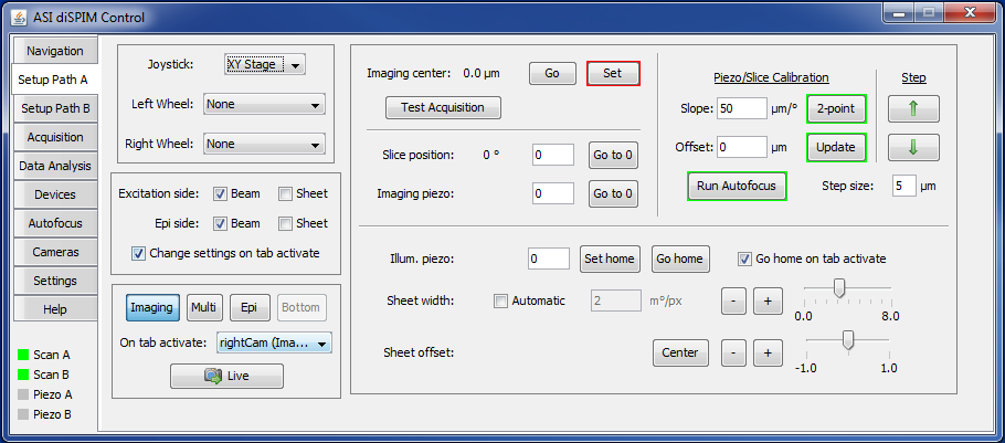 diSPIM plugin Setup Path A tab